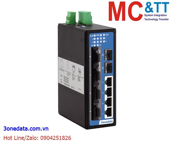 Switch công nghiệp 4 cổng Ethernet+4 cổng quang (2 sợi quang, Single Mode, SC, 20KM)+2 cổng quang Gigabit SFP 3Onedata IES2010-2GS-4F-S-SC-20KM