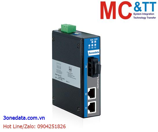 Bộ Chuyển Đổi Quang Điện Công Nghiệp 2 Cổng Gigabit Ethernet + 1 cổng Quang (1 sợi quang, Single Mode, SC, 80KM) 3Onedata IMC102GT-1GF-SS-SC-80KM