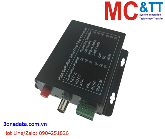 Bộ chuyển đổi 1 kênh video TVI / CVI / AHD + RS-485 Reverse Data sang quang 3Onedata SWV61101