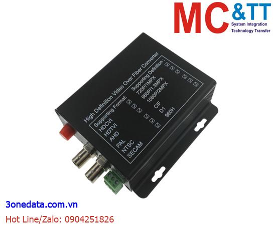 Bộ chuyển đổi 2 kênh video TVI / CVI / AHD + 1Ch Reverse Data sang quang 3Onedata SWV61201