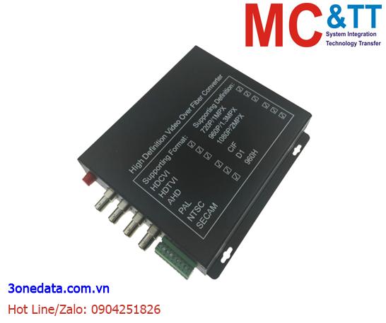 Bộ chuyển đổi 4 kênh video TVI / CVI / AHD +1Ch Reverse Data sang quang 3Onedata SWV61401