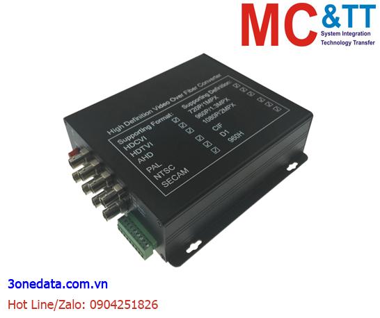 Bộ chuyển đổi 8 kênh video TVI / CVI / AHD +1Ch Reverse Data sang quang 3Onedata SWV61801