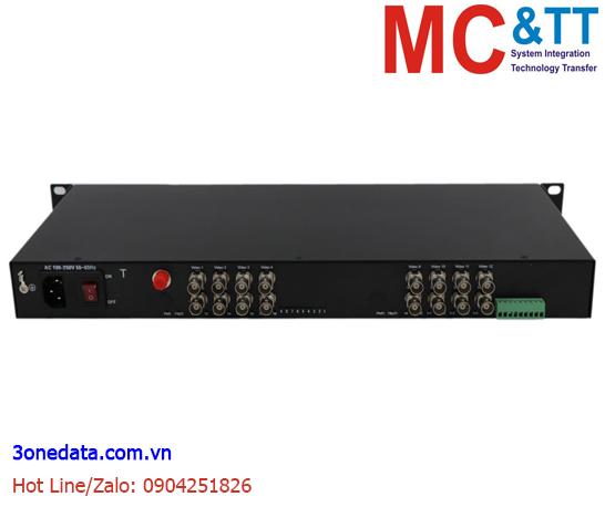 Bộ chuyển đổi 16 kênh video TVI / CVI / AHD +1Ch Reverse Data sang quang 3Onedata SWV62601