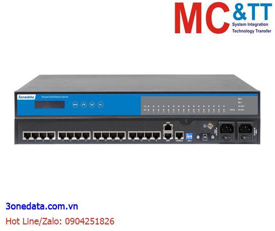 Bộ chuyển đổi 16 cổng RS-232/485/422 sang 2 cổng Ethernet 3Onedata NP5100-2T-16DI(3IN1)-RJ-OLED