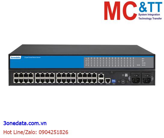 Bộ chuyển đổi 32 cổng RS-232/485/422 sang 2 cổng Ethernet 3Onedata NP5100-2T-32DI(3IN1)-RJ