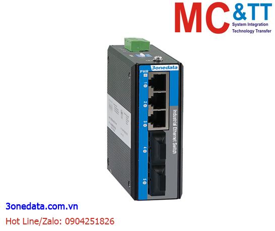 Switch công nghiệp 3 cổng Ethernet + 2 cổng quang (2 sợi quang, Multi Mode, SC, 2KM) 3Onedata IES2105-3T2F(MSC2KM)-P48