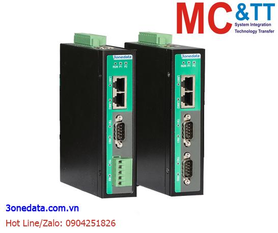 Bộ chuyển đổi Modbus Gateway 2 cổng RS-232/485/422 Modbus RTU/ASCII sang Ethernet Modbus TCP 3Onedata IGW1112-2DI-(3IN1)-DB-2P(12~48VDC)
