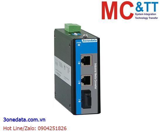 Bộ chuyển đổi quang điện công nghiệp 2 cổng Ethernet + 1 cổng quang (1 sợi quang, Single Mode, SC, 20KM) 3Onedata IMC100-2T1F(SSSC20KM)-P48
